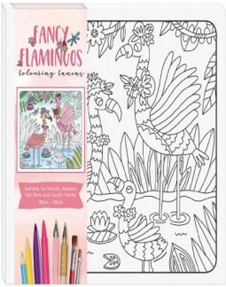 Children's Colouring Canvas : Fancy Flamingos