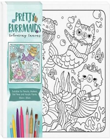 Children's Colouring Canvas : Pretty Purrmaid