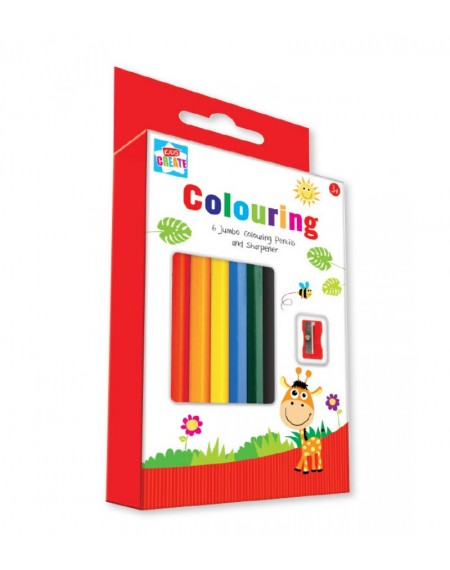 Colouring- 6 Jumbo Colouring Pencils and Sharpener