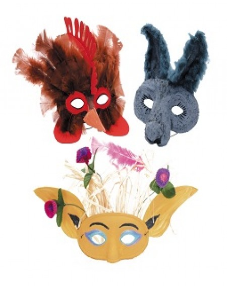 Half Mask Paper Mache With Elastic Pk Of 24