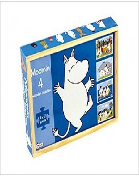 Moomin 4 Wooden Puzzles In Wooden Box