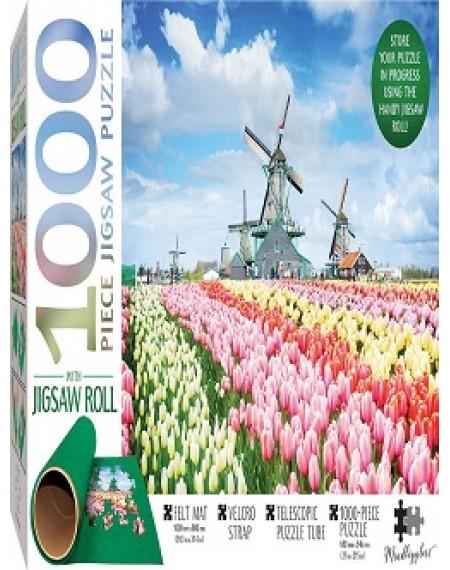 Jigsaw Roll with 1000-Piece Puzzle: Dutch Windmills