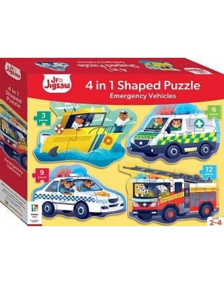 Junior Jigsaw Shaped 4 in 1 Emergency Vehicles