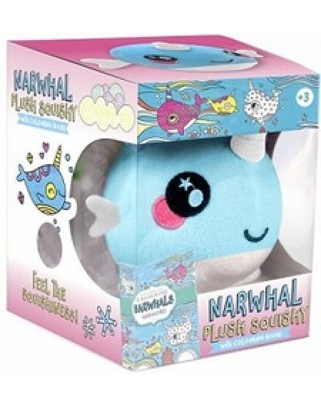 Plush Narwhal squishy with book