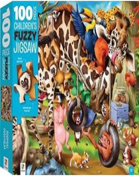 100-Piece Children's Fuzzy Jigsaw: Animal Mayhem