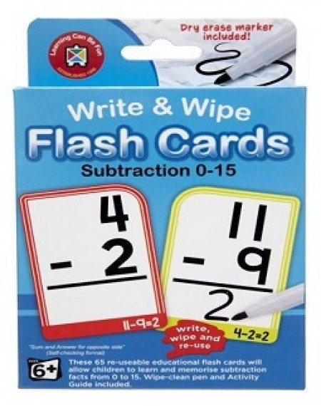 Subtraction Flash Cards Write & Wipe with Marker