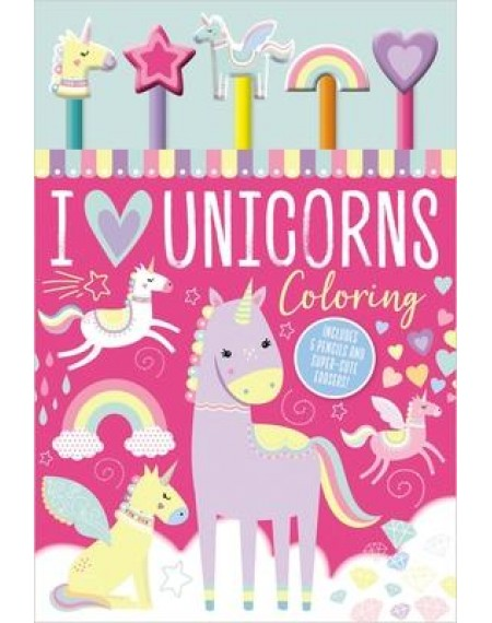 5 Pencil Eraser Set:  I Love Unicorns Coloring