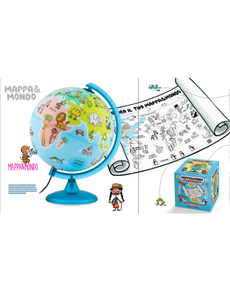 Globe cm 25 Mappa & Mondo Eng Led Bateries operated with big wall map to colour