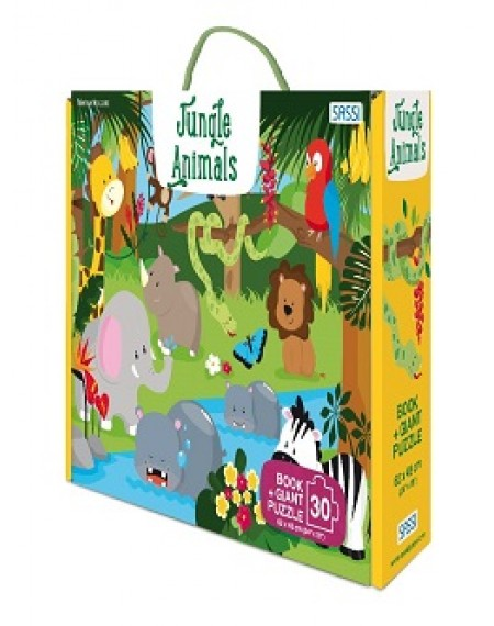GIANT PUZZLE AND BOOK - JUNGLE ANIMALS - N.E. 2020
